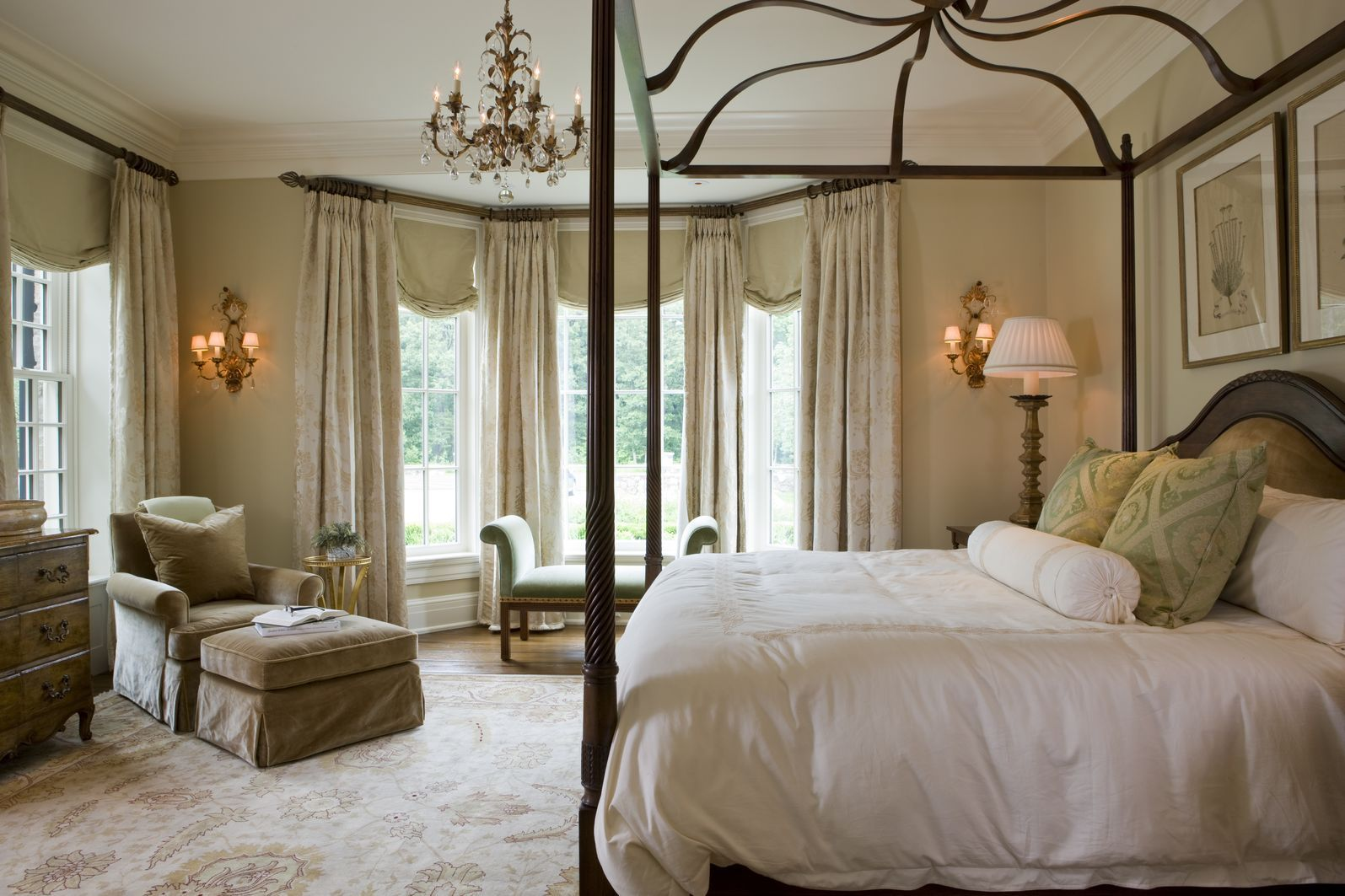 Window decor for bedroom  weston georgian manor home  traditional  bedroom  images by slc