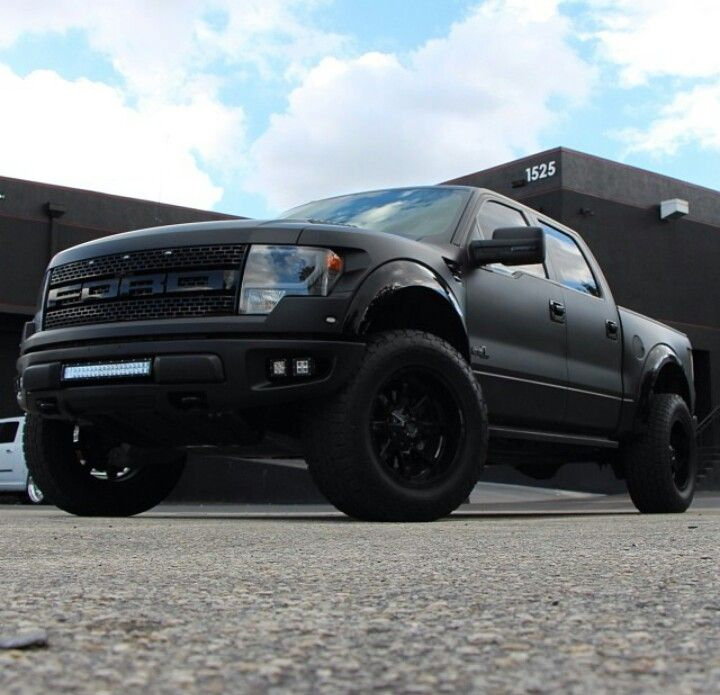 Ford raptor painted all satin black with gloss black accents 2 painted all satin black with gloss black accents front lift led bar lights on fuel maverick wheels mozeypictures Gallery
