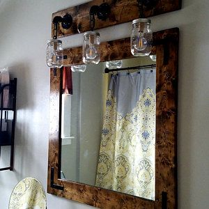 Photo of RECLAIMED WOOD mason jar lamp, bathroom lamps, 3 lamps, washstand lamps, wall lighting, country rustic farmhouse decor lamp