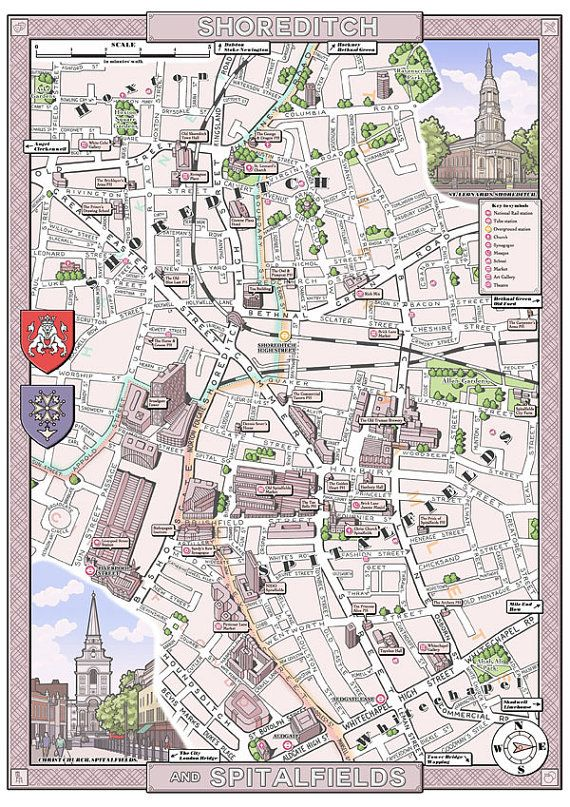Shoreditch London Uk: Shoreditch & Spitalfields (London E1/EC3) Illustrated Map