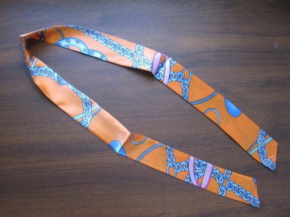 Orange Silk Twilly Scarf Handbag Tie Silk Tie 100% by SummerMatcha