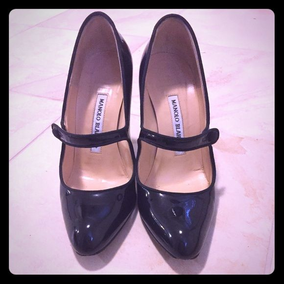 Manolo Blahnik MaryJane Pumps Black patent leather Classic Manolo maryjanes.  Slight wear on left heel that can be fixed by a shoe maker. Manolo Blahnik Shoes Heels