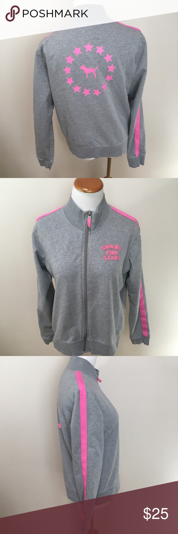 VS PINK Gray Shining Pink Stars Track Jacket Large Victoria ...