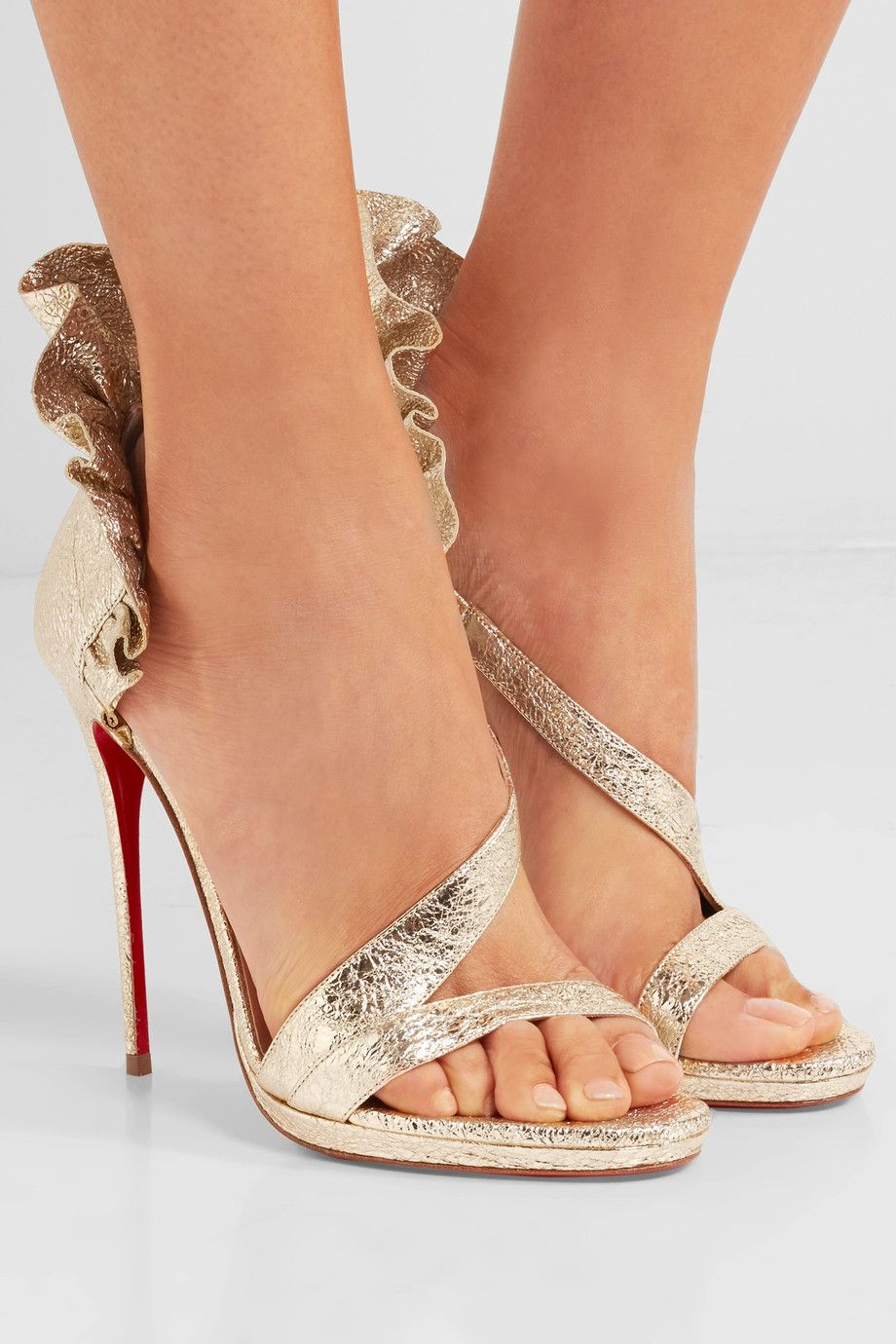 Quality Free Shipping Low Price Buy Cheap Cheapest Colankle 120 Ruffled Metallic Cracked-leather Sandals - Gold Christian Louboutin wqmdXgEZSx