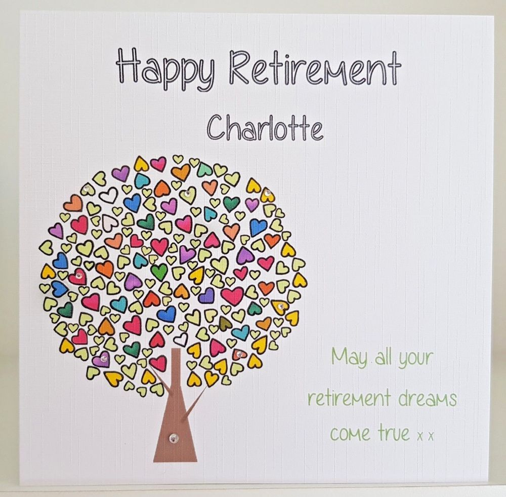 Happy retirement card personalised u handmade female leaving job