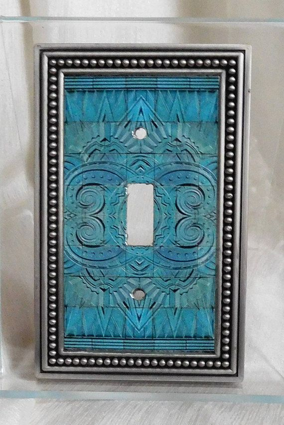 Art Deco Tile Motif Light Switch Cover Altered Image Plate Switchplate Turquoise Wall