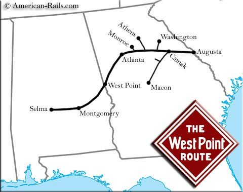 The West Point Route Was A Fondly Remembered Southern System - Atlanta T Montgomery Rail On Map Of Us
