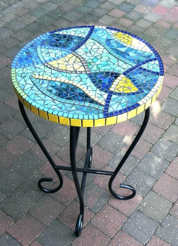 Stained Glass Mosaic Coffee Table Side Blue Outdoor Colored Interiors Llc  31625