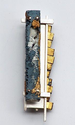 Brooch | Michael Rybicki.  'Poured Column'.  Sterling, Brass, Enamel, Stainless