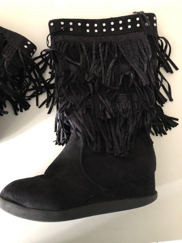 black fringe boots for girls