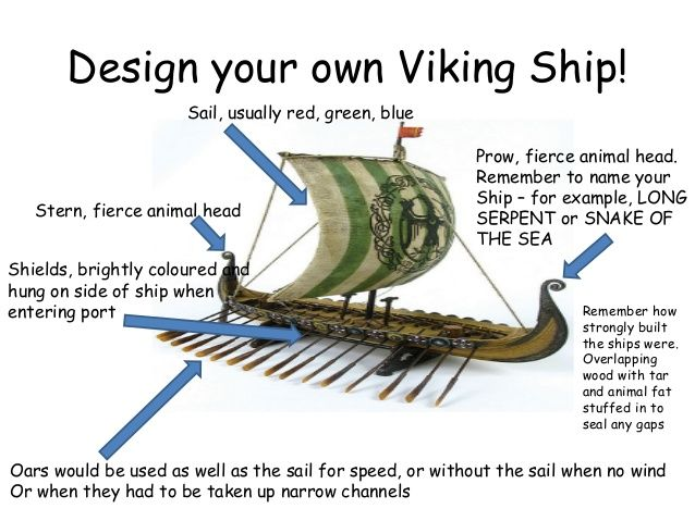 Design your own Viking Ship! Sail, usually red, green, blue