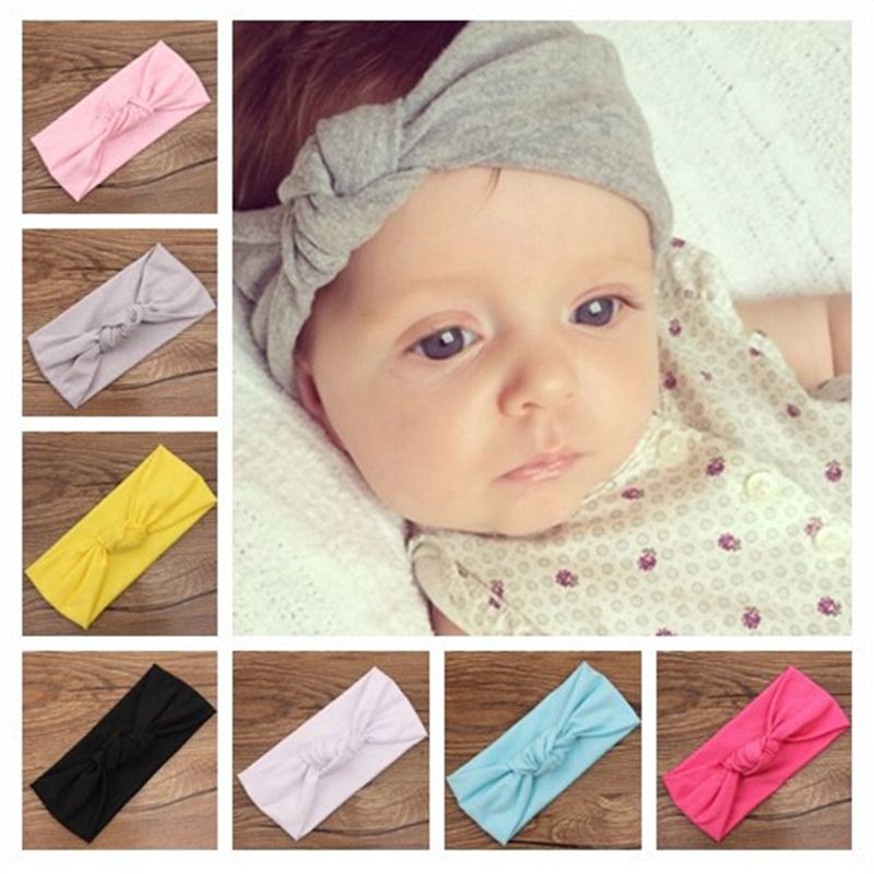 26a6212cfc4 Baby Tie Knot Headband Knitted Cotton Children Girls Hair Band Toddler  Turban Headband Summer Style Headwear bandeau bebe