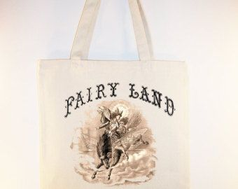 Vintage Fairy Land Canvas Tote with Shoulder Strap - Selection of sizes available