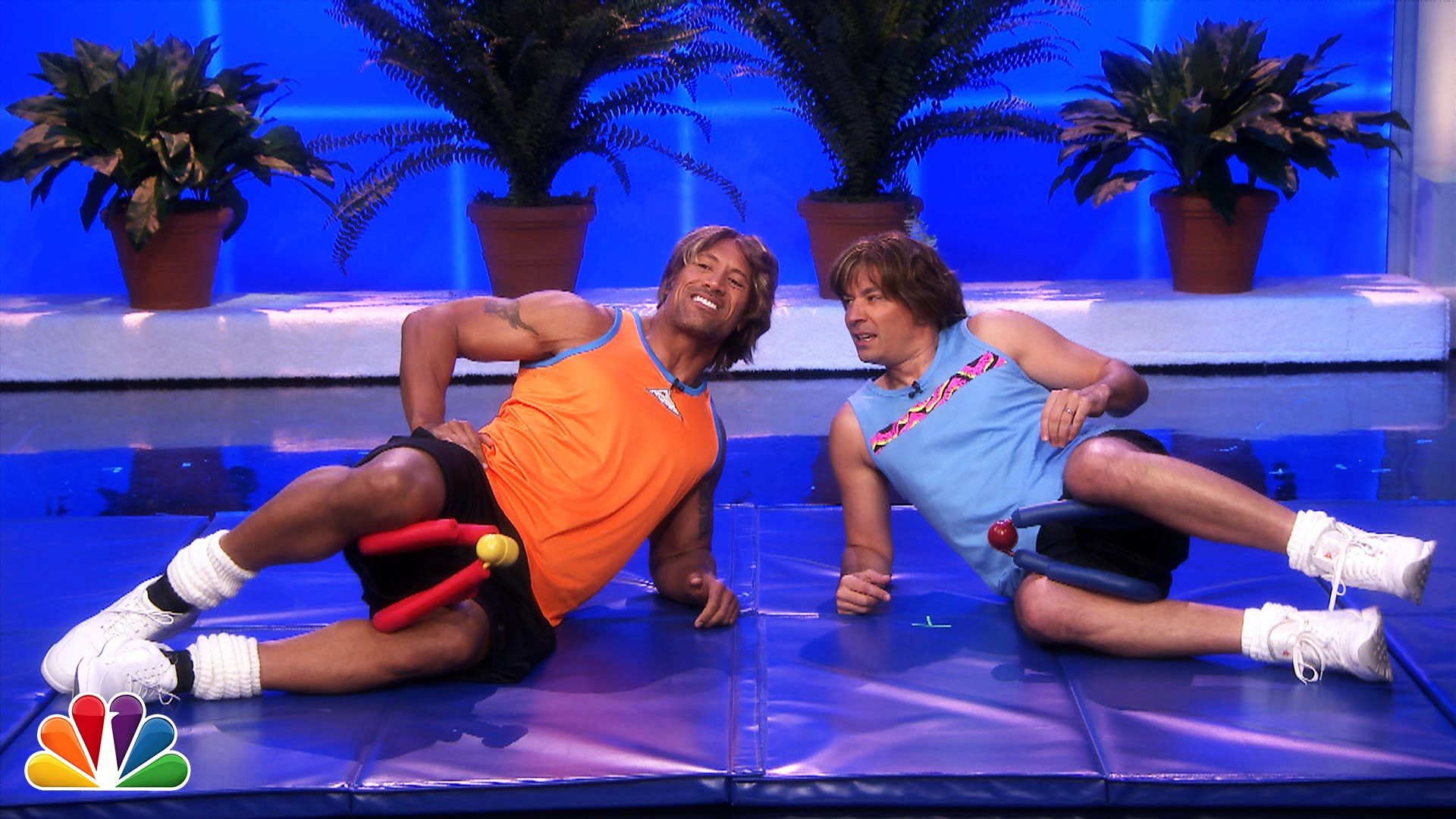 Jimmy Fallon Dwayne Johnson S Workout Videos Part 1 The Rock Dwayne Johnson Jimmy Fallon Dwayne Johnson