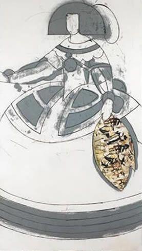"""Manolo Valdés Grabado al Aguafuerte, Aguatinta y Collage """"Reina Mariana II""""  2000  168 x 98 cm  Tirada de 100 ejemplares + 20 en Romanos  Numerado en romanos y firmado a mano  Precio: 10.500 €"""