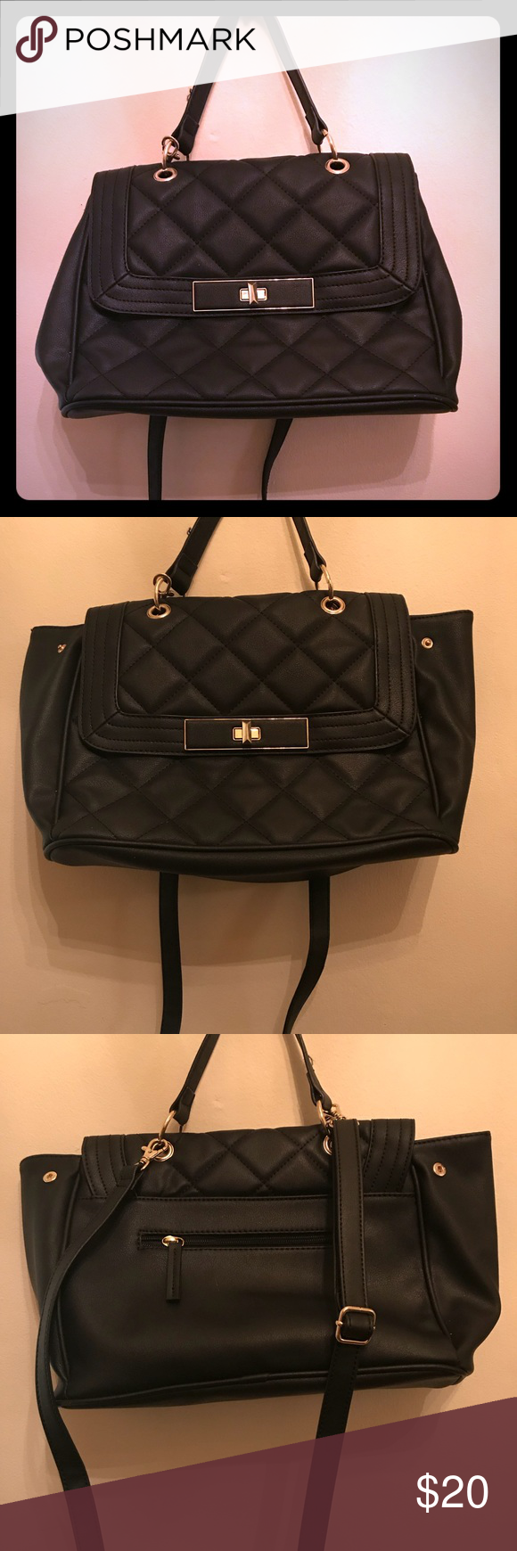 60c15ada75e4 Black Mossimo  over shoulder bag Black faux leather Mossimo brand name purse  . This is not real leather but stands in good quality. Medium sized with no  ...