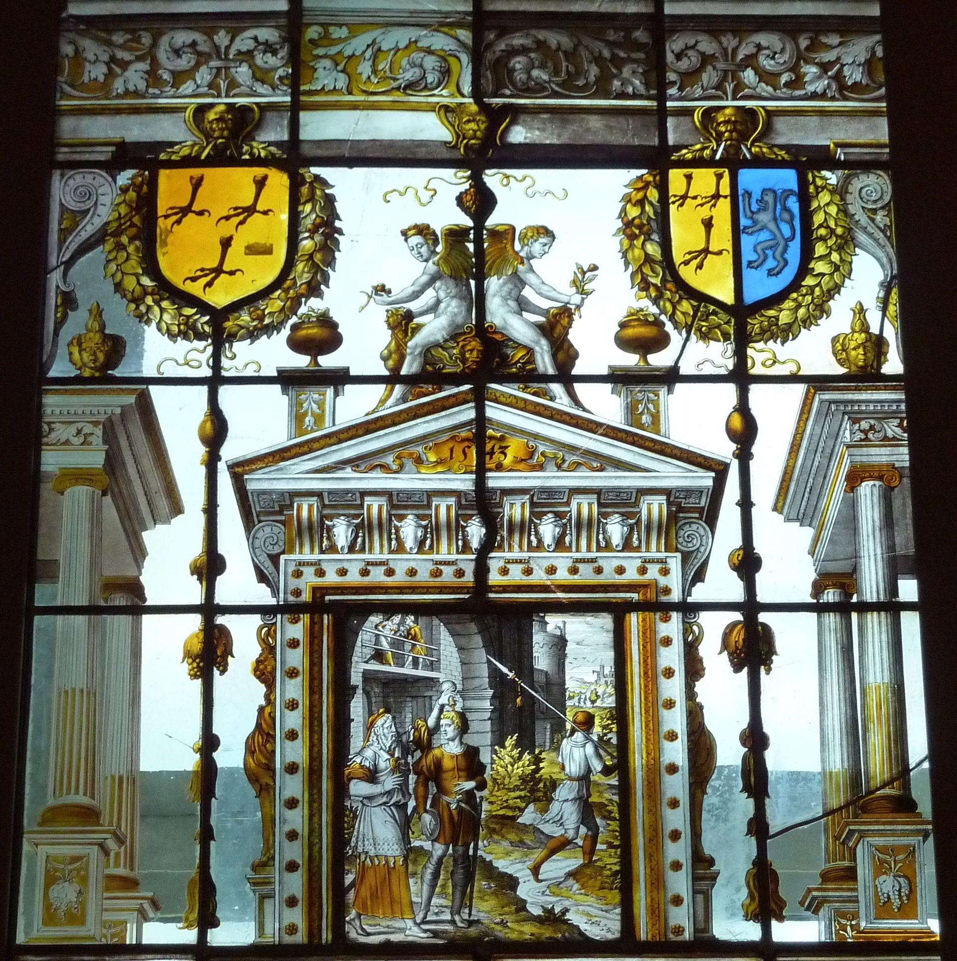 Domestic window by Dirck Crabeth for the house of Adriaen Dircxz. van Crimpen, of Leiden. (1543) The windows show scenes from the lives of the Prophet Samuel and the Apostle Paul. Musée des Arts Décoratifs, Paris