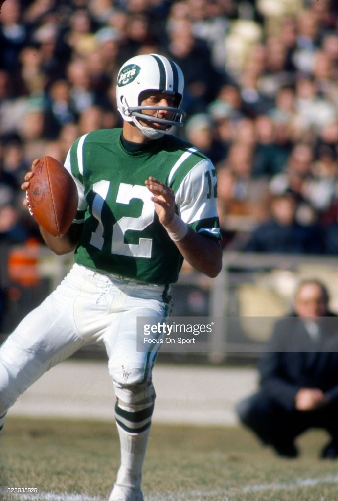 d49b004d Quarterback Joe Namath #12 of the New York Jets warms up during pregame  warm ups prior to the start of an AFL football game circa 1968 at Shea  Stadium in ...