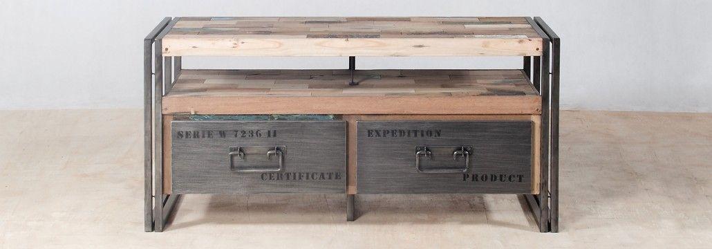 meuble tv en bois recycls de bateaux 2 tiroirs mtal face - Meuble Tv Bois Et Metal