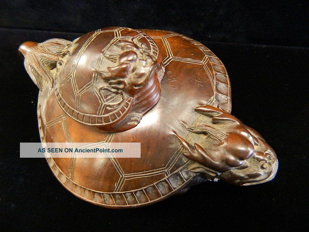Turtle Teapot | Chinese Boxwood Teapot Dragonturtle & Baby Dragon Turtle Other photo 2