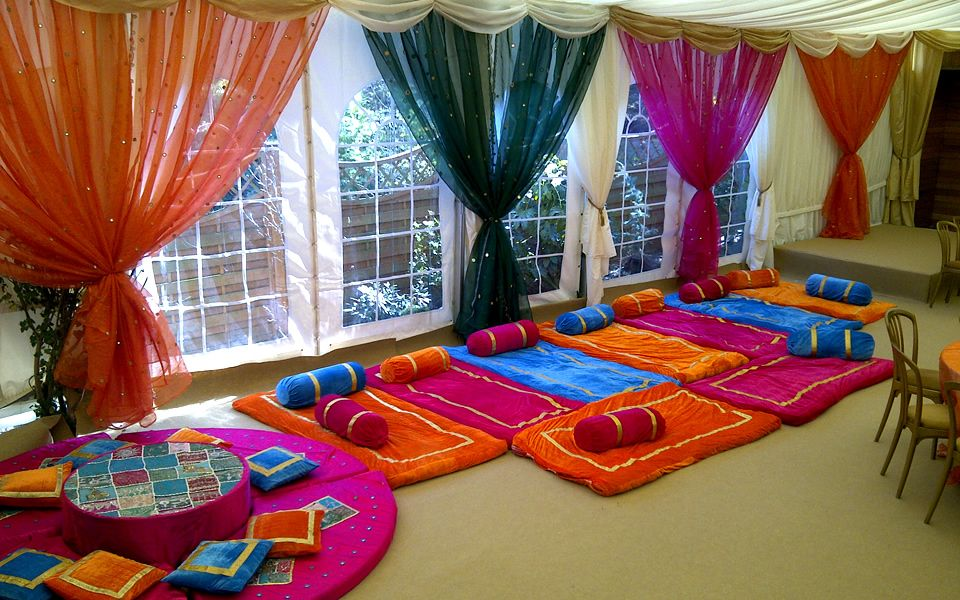 Mehndi decor can we rent pillows and floor for Simple party decorations at home