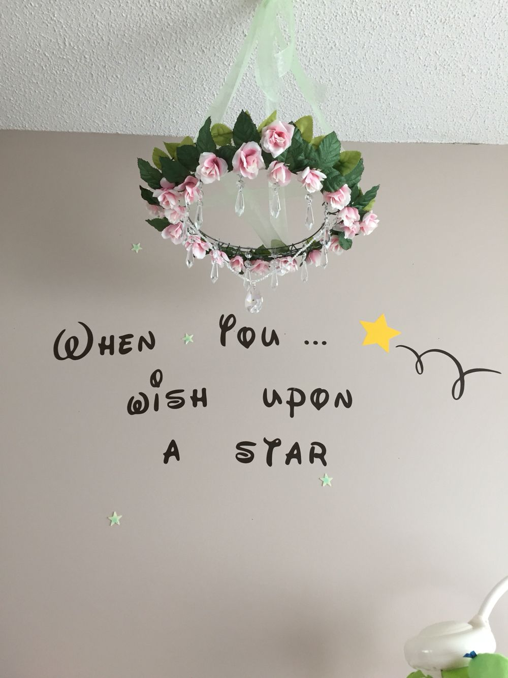DIY over the crib chandelier for a baby girl nursery. Wire wreath ...