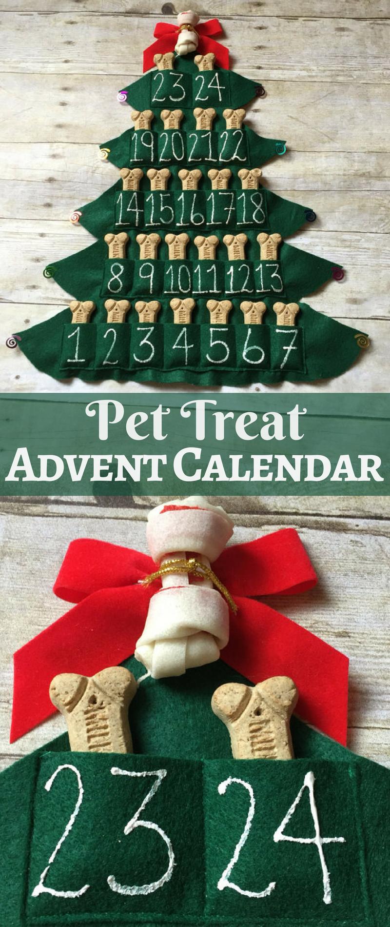 Pet Treat Advent Calendar, Felt Christmas Tree, 25
