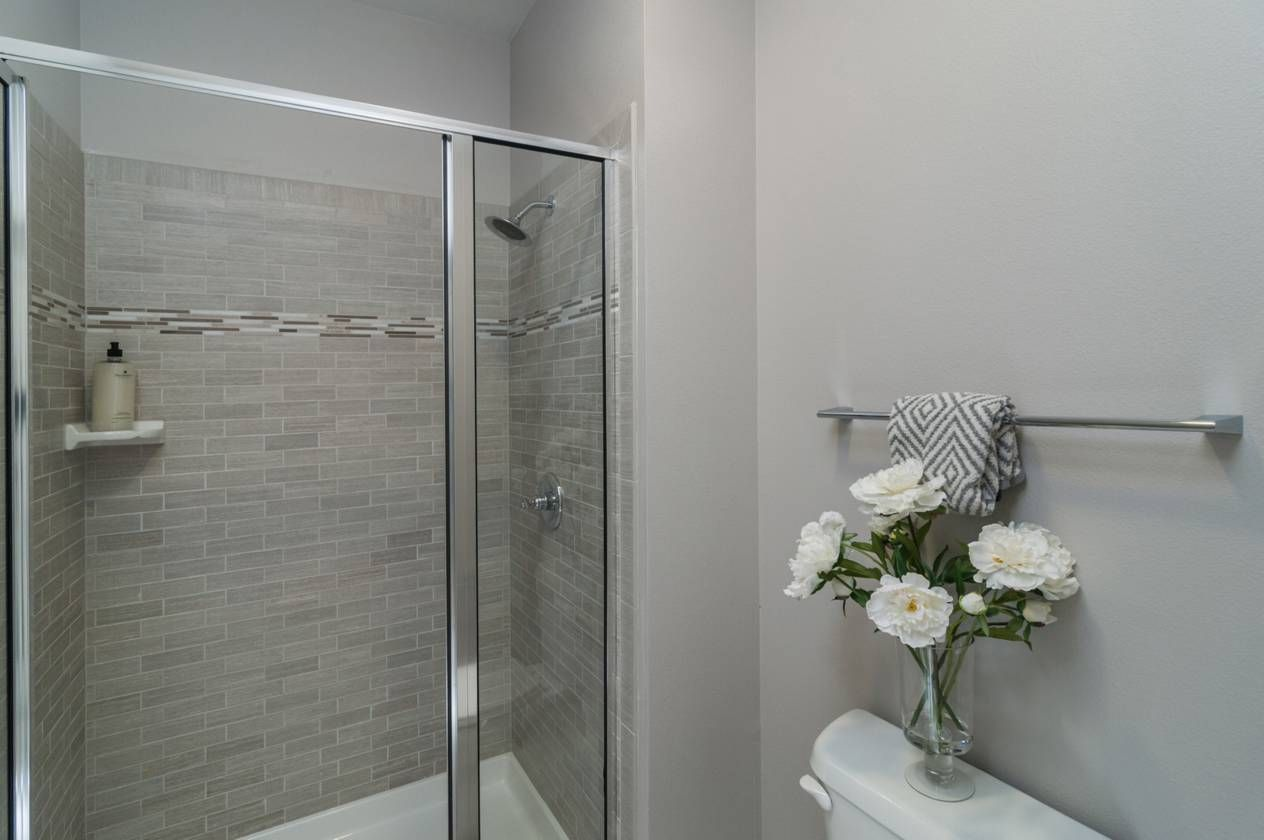 3 X 4 Master Shower With Leonia Silver Subway Tiles And