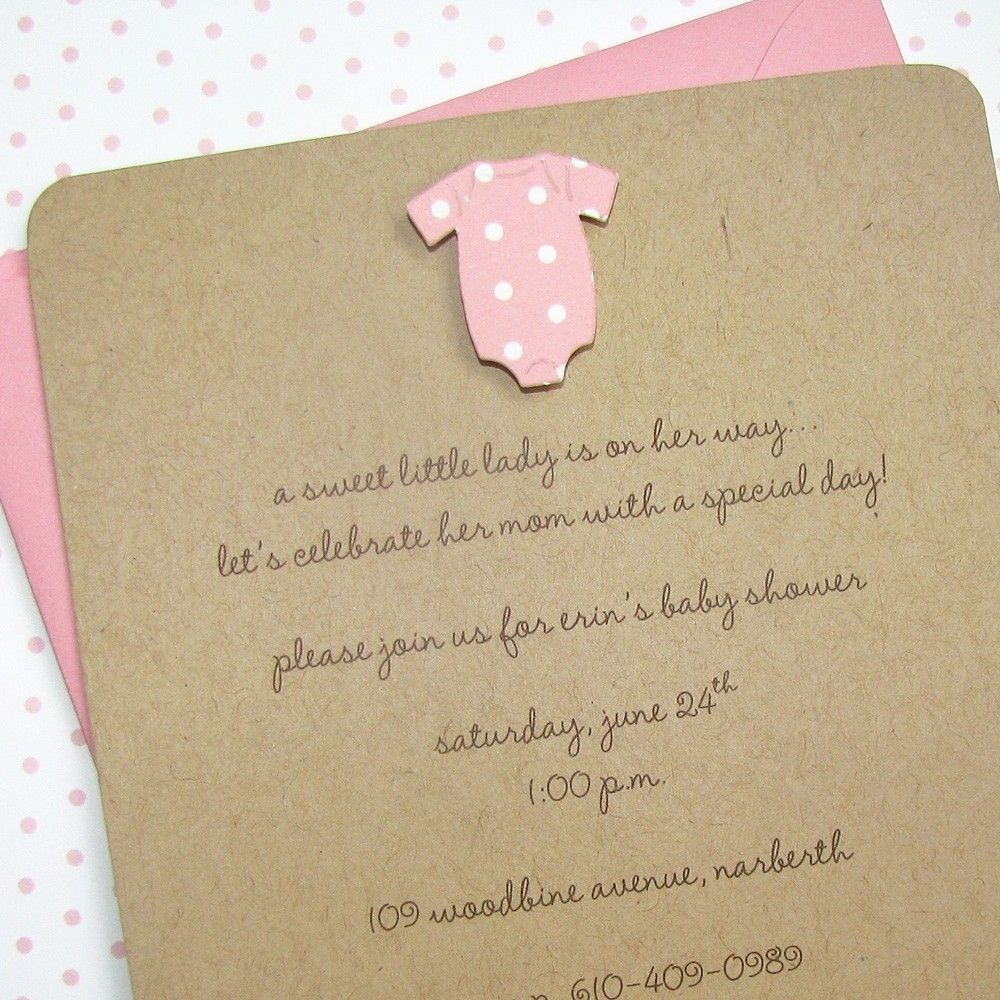 Handmade Girl Baby Shower Invitations - Pink Polka Dot Onesie on 100 ...