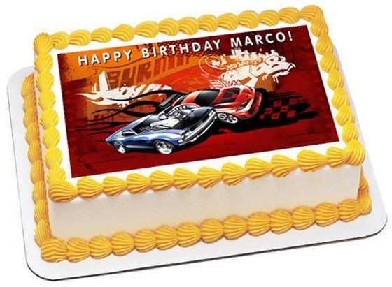 Hot Wheels Edible Birthday Cake Topper Or Cupcake Topper Decor