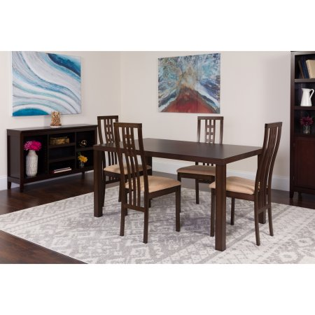 Flash Furniture Chatham 5 Piece Espresso Wood Dining Table Set