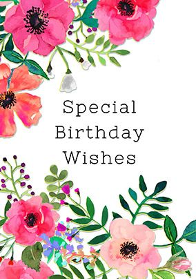 Neon Bloom Birthday Card White Bloom Special Birthday Wishes Unique Cards Birthday Cards