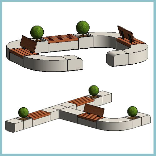 Monoscape metrolinia modular seating autodesk revit