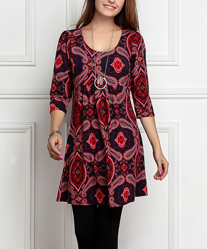 $19.99 - Red Paisley Empire-Waist Tunic - This soft essential features a bohemian print and a cinching design. It can be paired with leggings or denims and styles well with slender belt pieces.