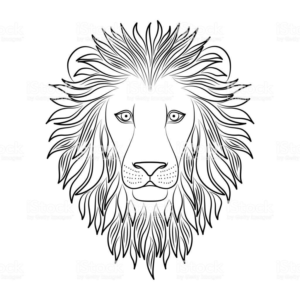 Isolated Black Outline Head Of Lion On White Background Line Cartoon Lowe Gesicht Zeichnung Lowen Illustration Lowe Skizze
