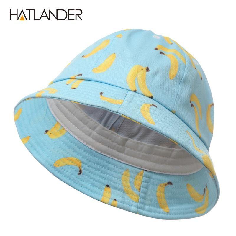 9f6204cb [HATLANDER]Women Banana bucket hat men panama hat unisex cotton bob caps  girls boys