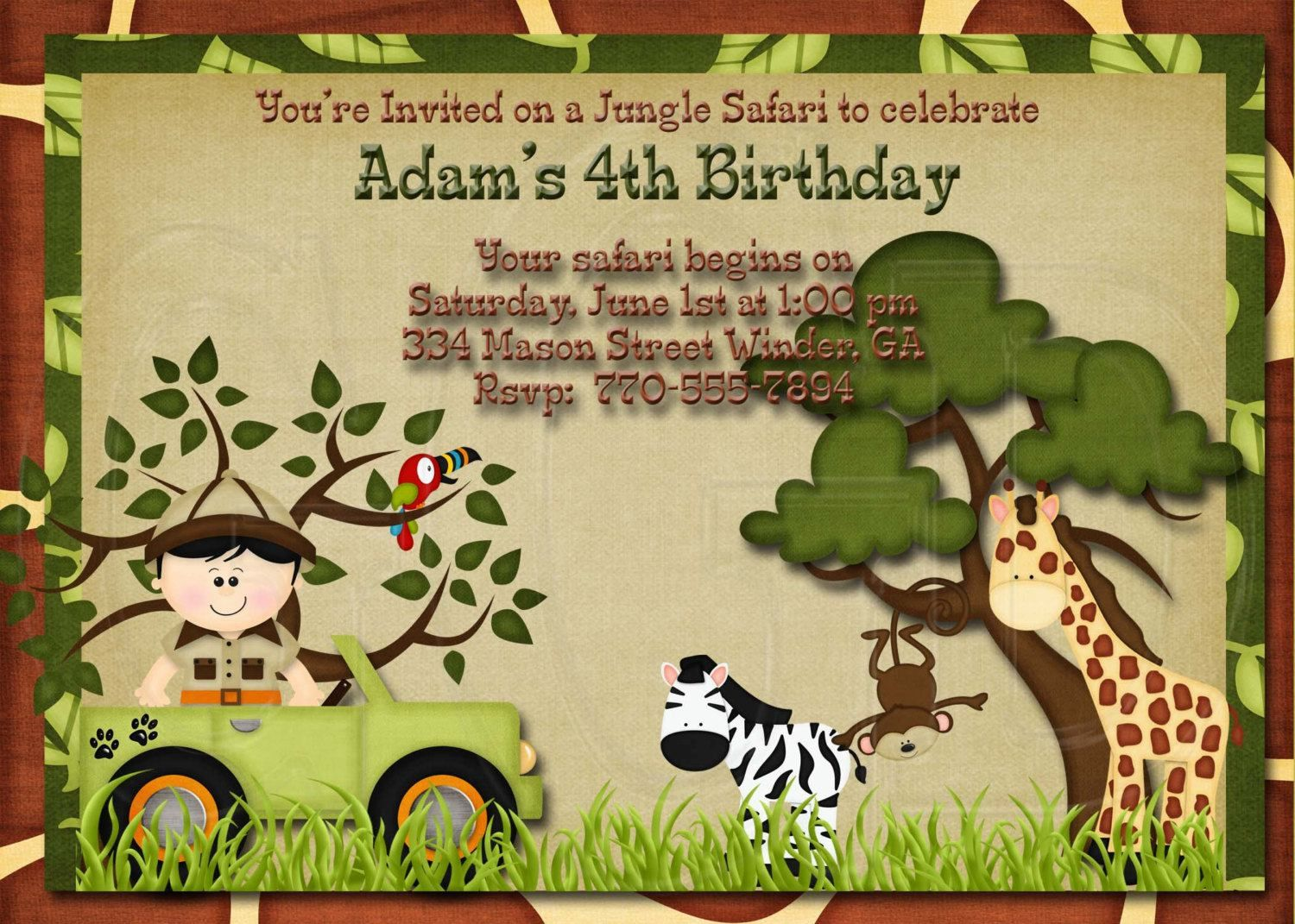 Girrafe and Zebra Jungle Safari Zoo Birthday Invitation  Birthday