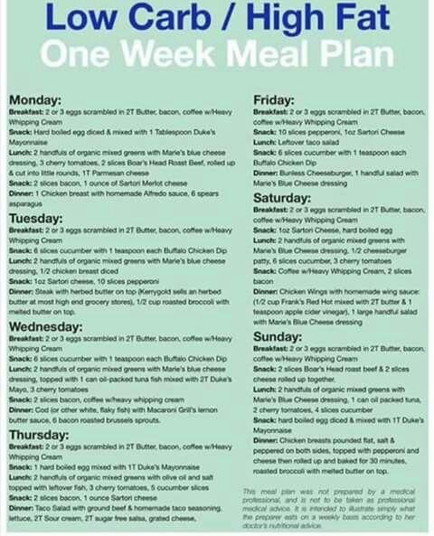 one week of low carb diet
