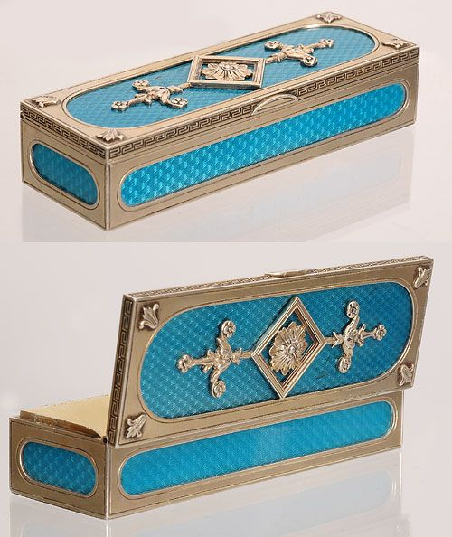 scratched silver a faberge silver and translucent turquoise blue enamel stamp box