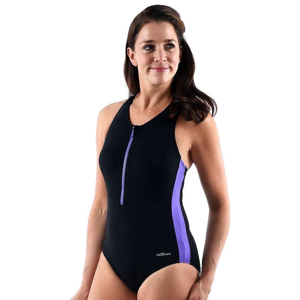 80d7b15fa1 Women s Dolfin Zip-Front Racerback One-Piece Swimsuit