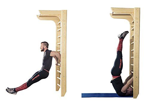 Bathroom Stall Workout bar2fit gymnastic stall bar with pull up bar - indoor wooden