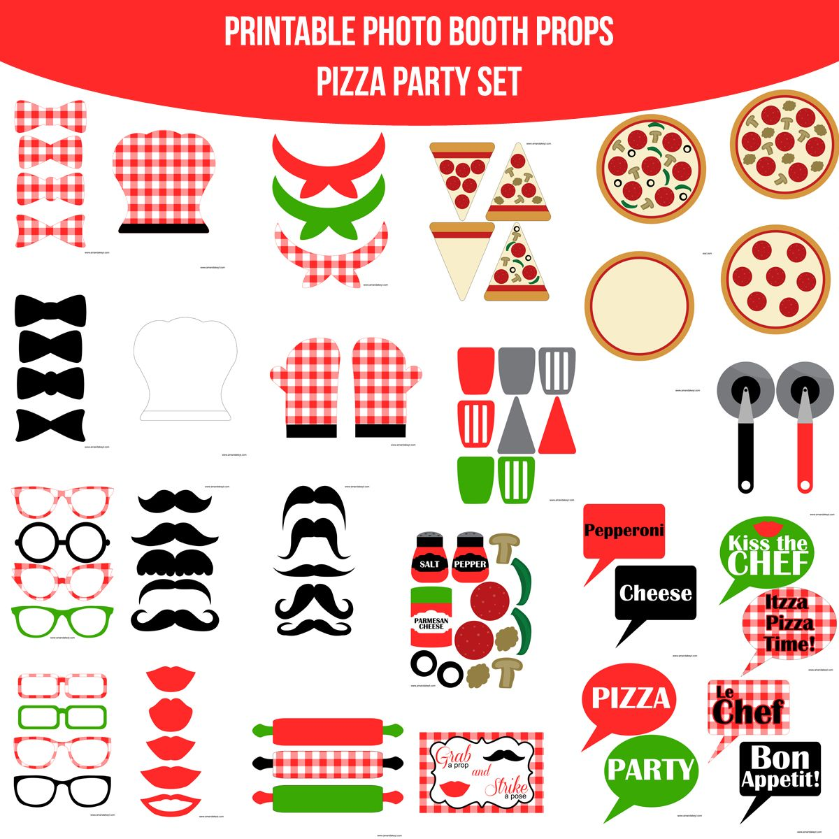 Instant Download Pizza Party Red Printable Photo Booth Set