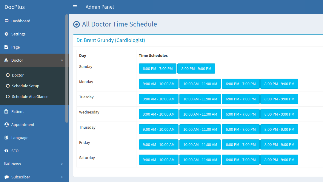 Docplus Online Multi Doctor Appointment Management (With