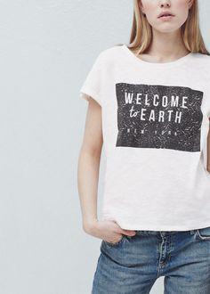 Camisetas MujerMango Algodón Camiseta Chicas Estampada De 8Nvm0nOw