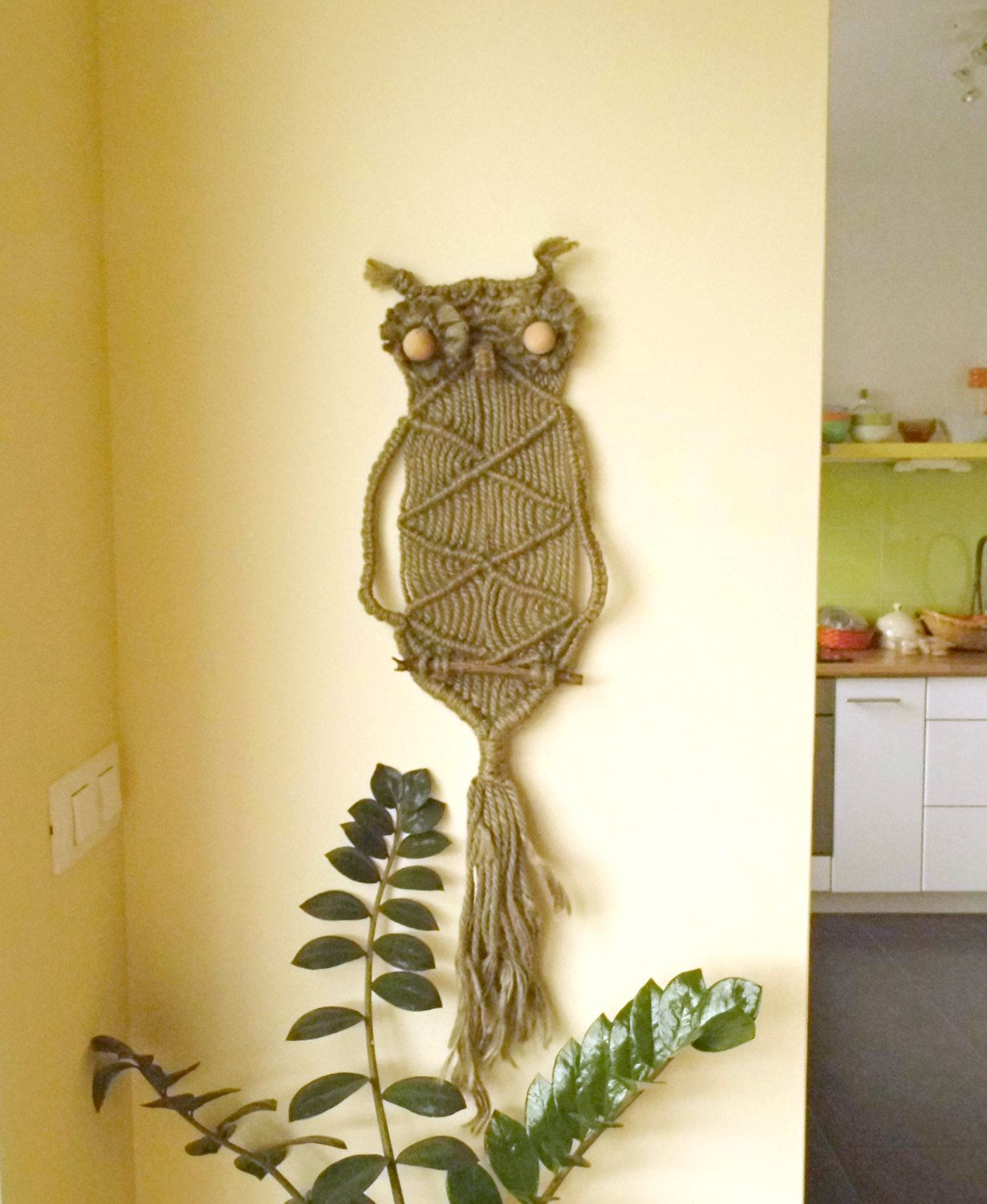 Vintage Tapestry Macrame Owl Driftwood Wall Hanging Large Handmade ...
