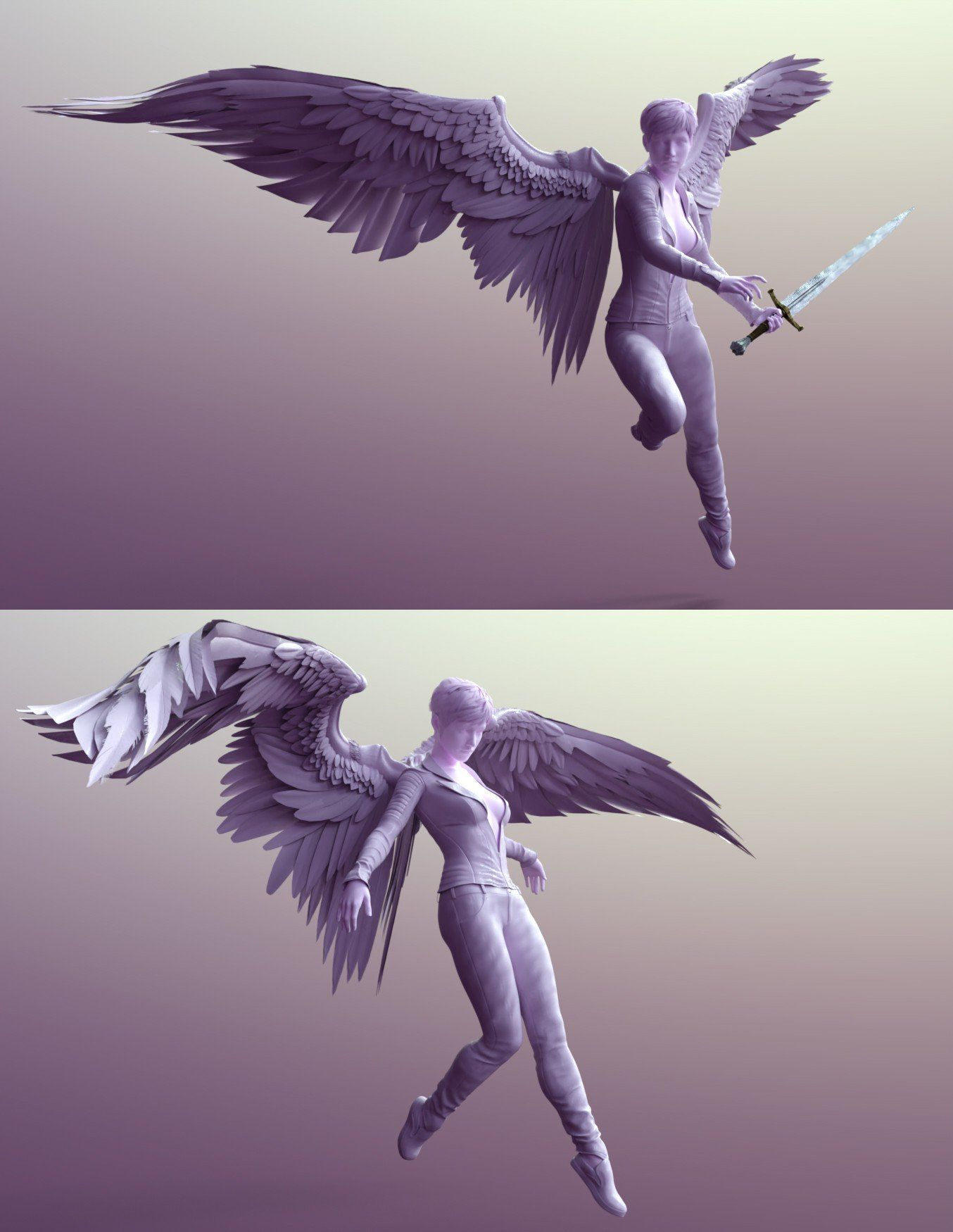 Sacrosanct Poses And Expressions For Genesis 8 And Morningstar Wings 3d Models And 3d Software By Da In 2020 Art Reference Poses Angel Wings Art Angel Wings Drawing