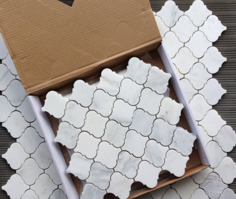 Carrara White Carrera Marble Lantern Shaped Mosaic Tile