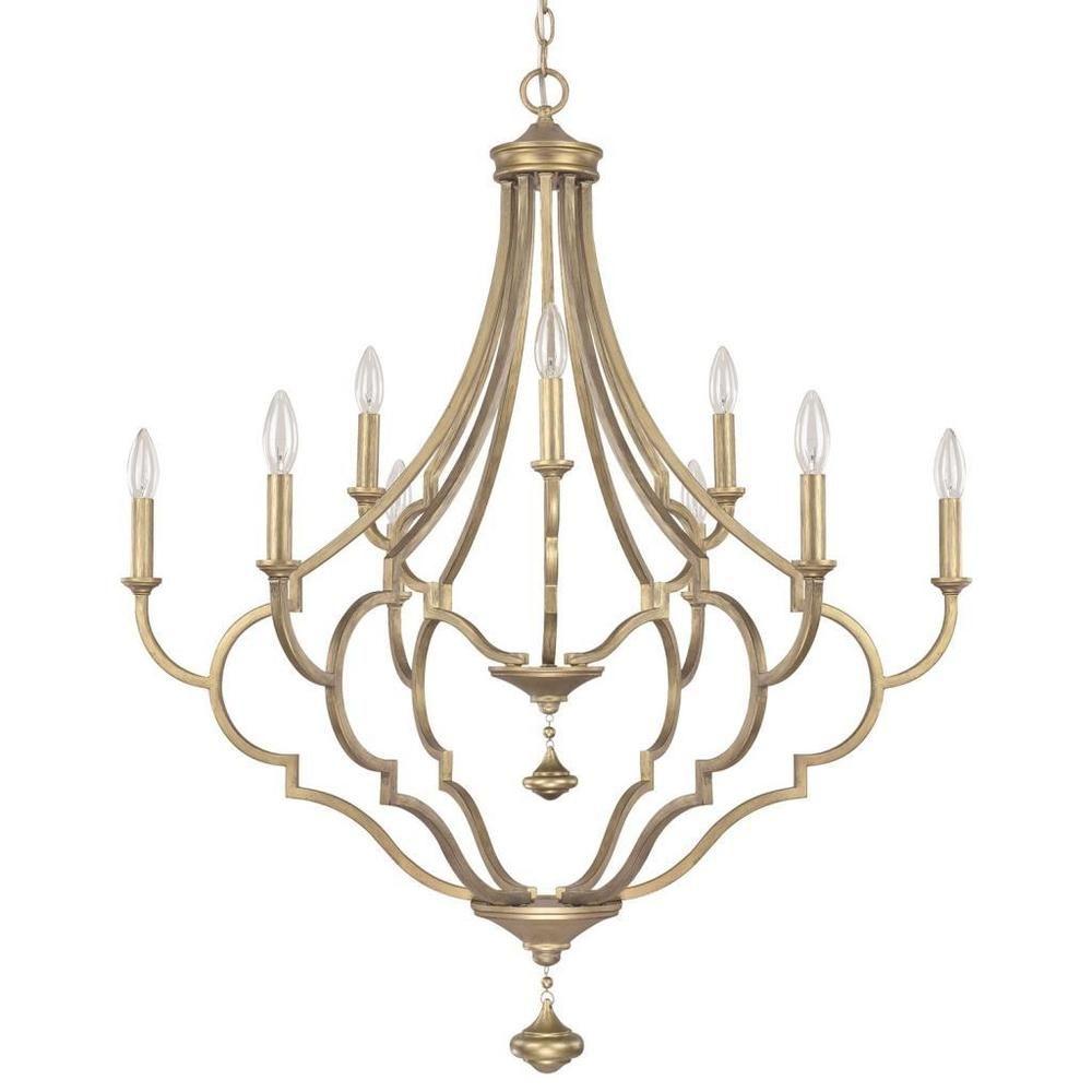 Quinn brushed goldtone 9 light chandelier overstock shopping quinn brushed goldtone 9 light chandelier overstock shopping great deals on capital aloadofball Image collections