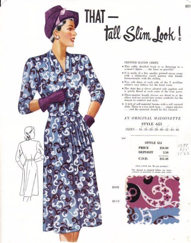 Vintage Maisonette Ad Fabric Swatch 1940s 8x11 651 Rayon Print Dress Fashion Illustration Dresses Fashion Fabric Vintage Fashion