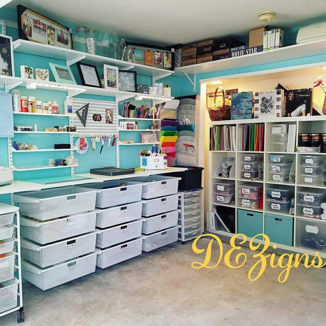 The Craft Room Of Desiree S Dezigns Made Possible With Elfa From The Container Store And Products From Ik Craft Room Design Dream Craft Room Craft Room Office